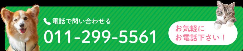 電話で問い合わせる:011-299-5561 お気軽にお電話ください!